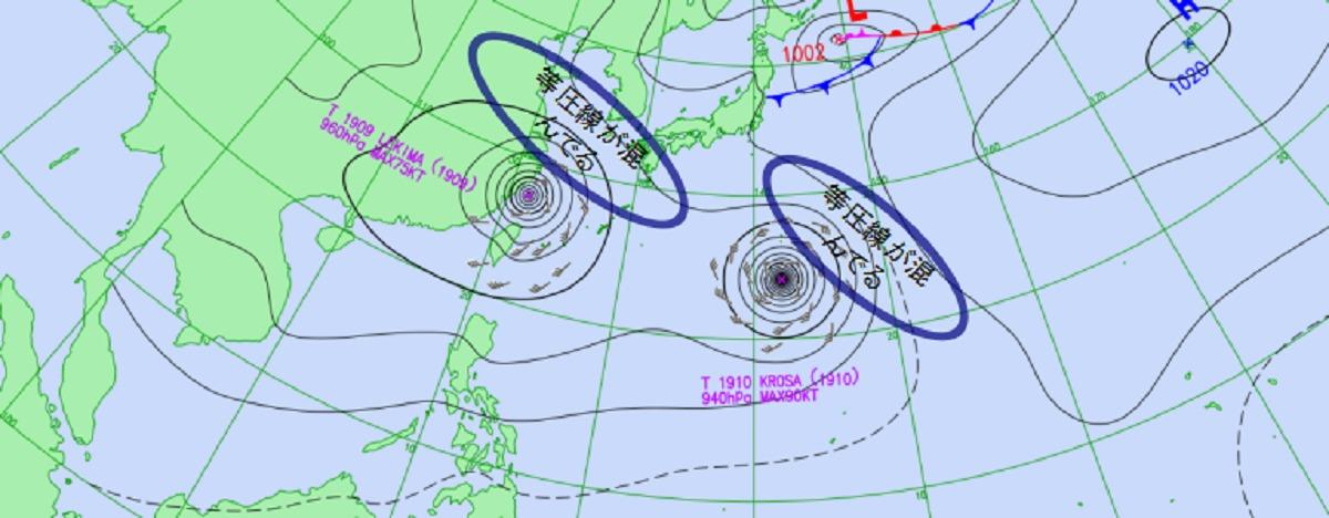 台風のある天気図