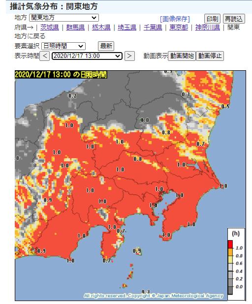 推計気象分布(日照)関東の例