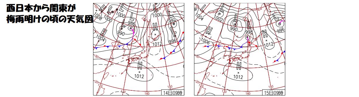 西日本から関東が梅雨明け下頃の天気図