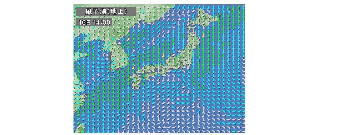 Yahoo天気の風予想