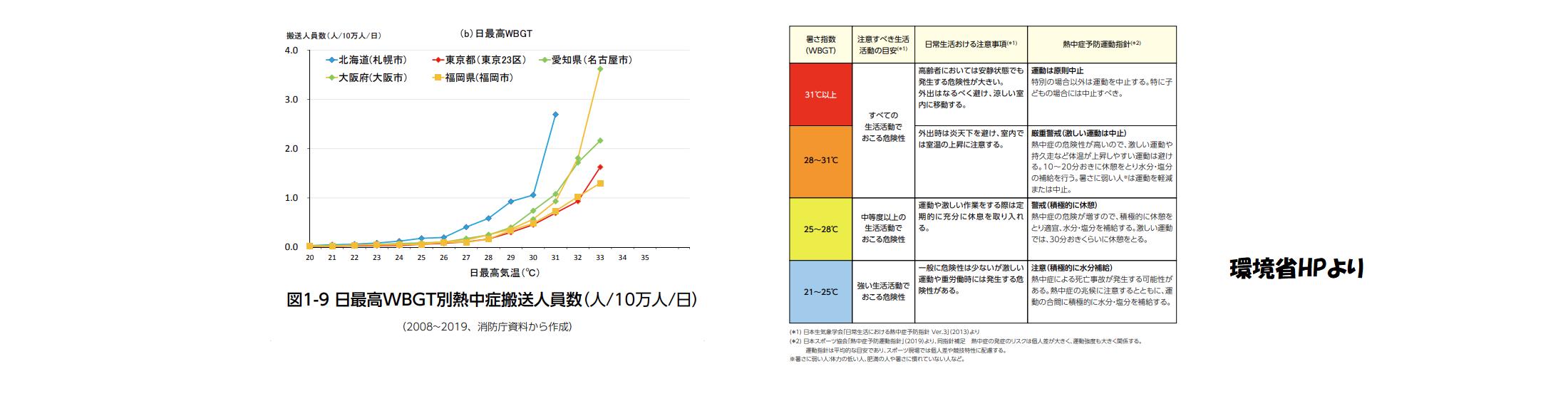 暑さ指数と熱中症患者数の関係と注意書き