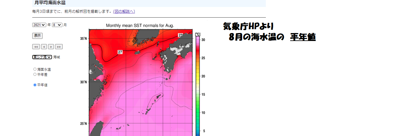 海水温平年値(8月)
